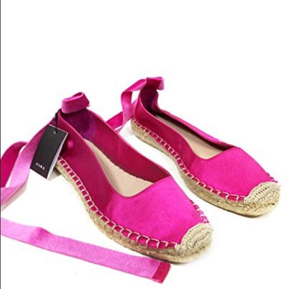 98656a4bfab1 Zara fuchsia satin lace up espadrilles
